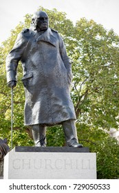 London, 28th September 2017:-Statue of former Prime Minister Sir Winston Churchill in Parliment Square