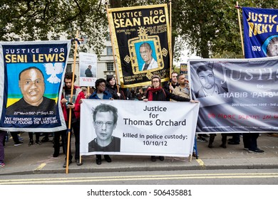 London, 29 October 2016. Annual United Families and Friends Campaign rally and procession in front of the Dawning Street to raise awareness of victims of police violence.