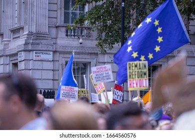London, 31st August, 2019 -  Demonstrators in Parliament Square and Downing St protesting against PM Boris Johnson's decision to suspend Parliament in the run-up to Brexit.