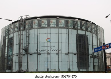 London, 31st October 2016 - An advert for the Pixel by Google Android powered smartphone is displayed behind the glazed exterior of the BFI's IMAX cinema in Waterloo