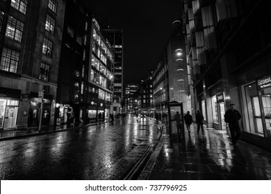 LONDON 4 NOV 2016, Beautiful black and white image of London City at night  London street with rain