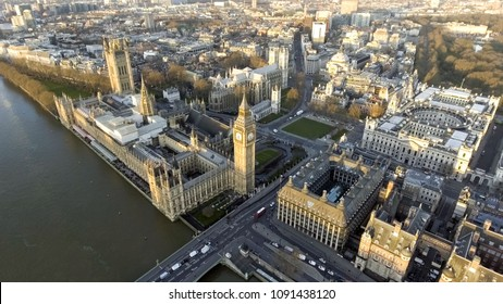 London Aerial Cityscape with Landmarks including the Thames, Big Ben Clock Tower and Parliament, Palace, Portcullis House and Westminster Square Garden
