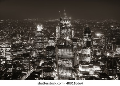 London aerial view panorama at night with urban architectures in black and white.