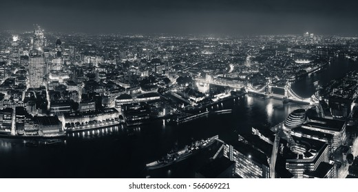 London Aerial View Panorama At Night With Urban Architectures And Tower Bridge
