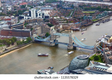 London aerial view with Tower Bridge and River Thames.