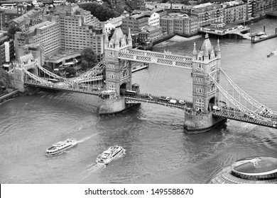 London aerial view with Tower Bridge and river Thames. Black and white retro style.