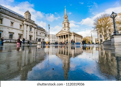 London, APR 15: Exterior view of the St Martin-in-the-Fields church on APR 15, 2018 at London, United Kingdom