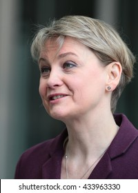 LONDON - APR 17, 2016: Yvette Cooper attends the Andrew Marr Show at the BBC studios on Apr 17, 2016 in London