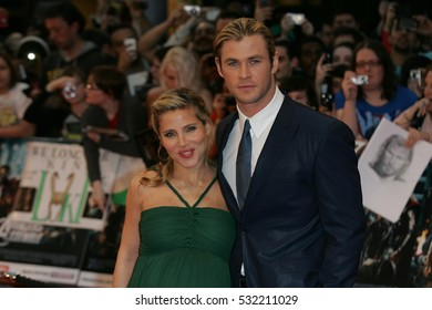 LONDON - APR 19, 2012: Elsa Pataky & Chris Hemsworth attend the Avengers Assemble - UK film premiere at the Vue Westfield on Apr 19, 2012 in London