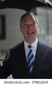 LONDON - APR 19, 2015: Nigel Farage seen at the BBC for the Andrew Marr Show at BBC broadcasting House on Apr 19, 2015 in London