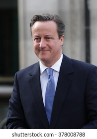 LONDON - APR 19, 2015: Prime Minister David Cameron seen at the BBC for the Andrew Marr Show at BBC broadcasting House on Apr 19, 2015 in London
