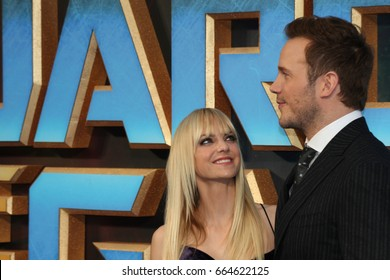 LONDON - APR 24, 2017: Chris Pratt and Anna Faris attend the Guardians of the Galaxy 2 - European Gala screening at the Eventim Apollo in London