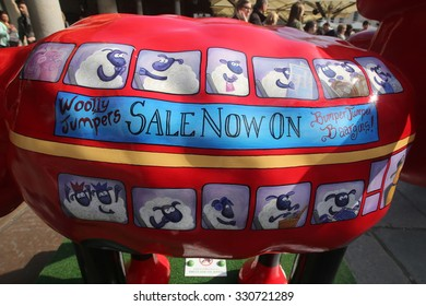 London - April 05, 2015: The Shaun the Sheep trail in London marked the release of the Shaun the Sheep Movie. Another one rides the bus by Susan Donna.