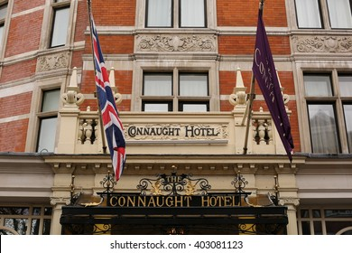 London, April 09, 2016: The Connaught Hotel dominates Carlos Place.