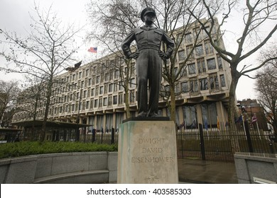 London, April 09, 2016: A Statue of Dwight D Eisenhower is on display in Grosvenor Square, outside the US Embassy