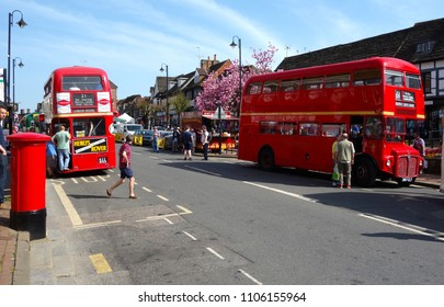 LONDON - APRIL 10: Classic London buses at the annual East Grinstead bus rally, April 10, 2018 in London
