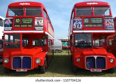 LONDON - APRIL 10: Classic London buses at the annual London Bus Museum Gathering April 10, 2018 in London