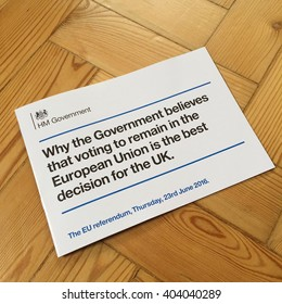 LONDON - APRIL 11: European Union referendum leaflet distributed to every household in the UK by the incumbent Conservative Government on April 11, 2016 in London, UK.