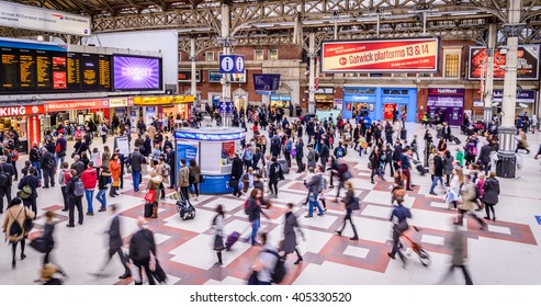 LONDON - APRIL 13, 2016 : Inside view of Victoria Station, since 1860, second busiest railway terminus after Waterloo, served 73 million passenger between 2010 - 2011,