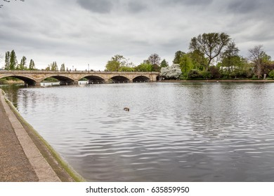 LONDON - APRIL 14, 2017: Lake in the center of St James's Park in London, April 14, 2017 in London