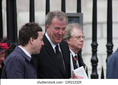 LONDON - APRIL 17: Jeremy Clarkson leaves the funeral service for Margaret Thatcher at St. Paul's Cathedral on April 17, 2013 in London.