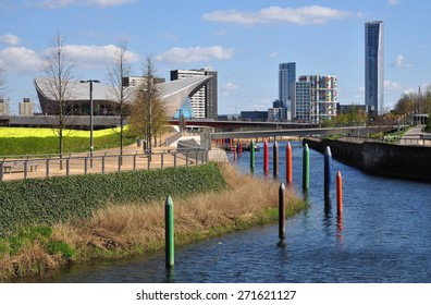 LONDON - APRIL 18, 2015. New buildings and landscaping transform the environment at Stratford; part of a huge regeneration programme from industrial wasteland in the Borough of Newham, London.