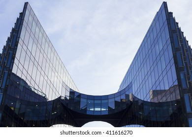 LONDON - APRIL 20, 2016: Headquarters of PricewaterhouseCoopers in London, Uk. PWC is a multinational professional services network, the world's second largest. Office building by Norman Foster.