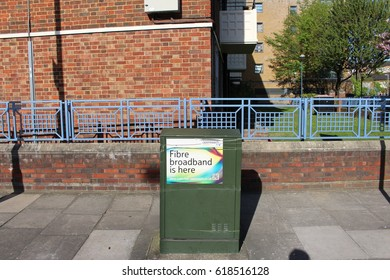London, April 2017. A street cabinet belonging to BT's Openreach network division, a provider of telecoms services in the UK, advertising the availability of fibre-based super-fast broadband.