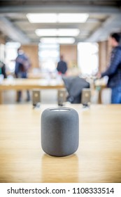 LONDON - APRIL, 2018: Apple HomePod Assistant Black, Siri Voice Service activated Recognition System