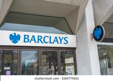 LONDON- APRIL, 2018: Barclays Bank exterior signage and logo on Victoria Street Branch in Westminster