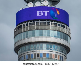 LONDON- APRIL, 2018: The BT Tower building close up, headquarters of the telecommunications and IT services company and prominent London landmark