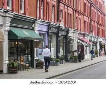 LONDON- APRIL, 2018: Chiltern Street in Marylebone district of west London- a premium shopping street with luxury fashion stores and night life venues