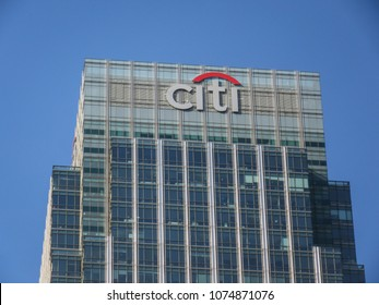 LONDON- APRIL, 2018: Citigroup Inc headquarters building on Canada Square in Canary Wharf, an American investment bank and financial services company