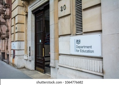 LONDON- APRIL, 2018: Department for Education UK government office in Westminster, exterior entrance and signage.