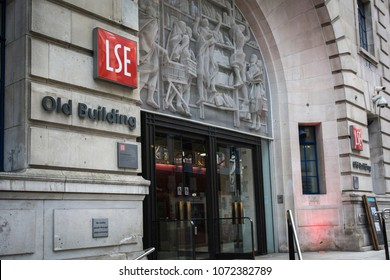 LONDON- APRIL,  2018: Entrance of the London School of Economics Old Building in central London, a prestigious British University