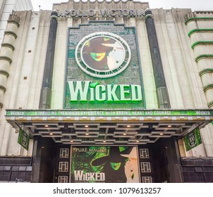 LONDON- APRIL, 2018: Exterior signage of the Wicked musical at the Apollo Victoria Theatre in the West End