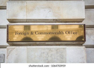 LONDON- APRIL, 2018: Foreign and Commonwealth Office, UK government building exterior signage- located on Whitehall, Westminster