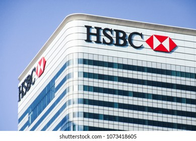 LONDON- APRIL, 2018: HSBC Canada Square, Canary Wharf. Global headquarters of the one the world's largest banking and financial services organisations
