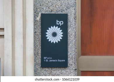 LONDON- APRIL, 2018:   Logo signage on on the exterior of the BP or British Petroleum headquarters on St James's Square, London- one of the worlds largest oil & gas companies