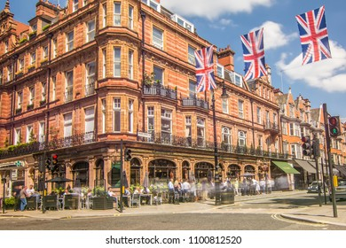 LONDON- APRIL, 2018: Mayfair's Mount Street decorated with British flags on a sunny day