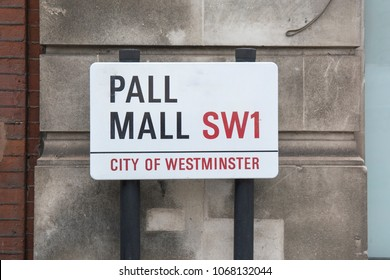 LONDON- APRIL, 2018: Pall Mall SW1 street sign in the city of Westminster. A London street famous for high end shops and private clubs