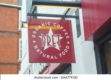 LONDON- APRIL, 2018: Pret A Manger- exterior signage and logo-  a British international sandwich shop chain.