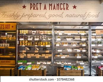 LONDON- APRIL, 2018: Pret a Manger interior, a British international sandwich shop chain