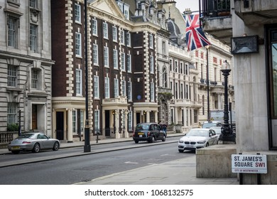 LONDON- APRIL, 2018: Row of buildings on  Pall Mall  and St James's Square- an iconic London area of historic luxury offices, private clubs and apartments