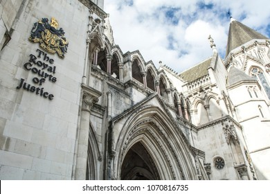LONDON- APRIL, 2018: The Royal Courts of Justice, an imposing gothic law court building housing the UK's High Court and Court of Appeal