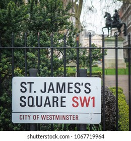LONDON- APRIL, 2018: St James's Square SW1  sign in the city of Westminster. A famous London landmark comprising of office buildings and garden square.