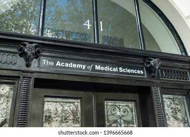 LONDON, APRIL, 2019: The Academy Of Medical Sciences on Portland Place in Marylebone-a biomedical and health research institution