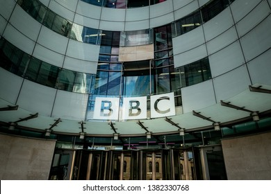 LONDON- APRIL, 2019: The BBC or British Broadcasting Corporation headquarters building on Portland Place- A world famous British public service broadcaster