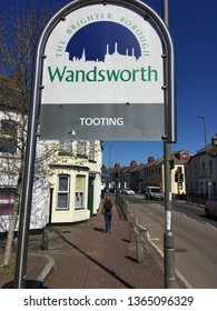 LONDON, APRIL, 2019: Tooting in Wandsworth boundary sign. A residential area in south west London