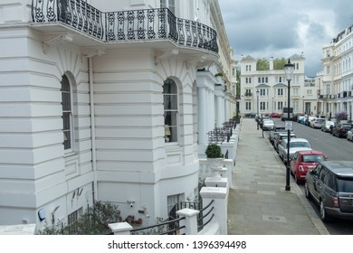 LONDON- APRIL, 2019: An upmarket street of townhouses in Notting Hill, west London